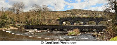 Aberdulais aquaduct in Wales - Aberdulais aquaduct and...