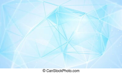 aberrated blue triangles abstract geometrical background loop