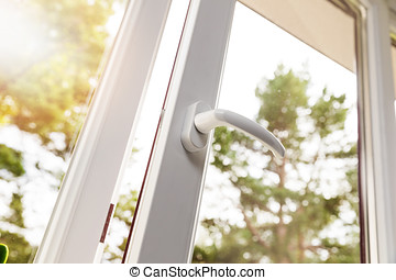 aberta, branca, plástico, pvc, janela