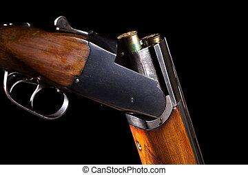 aberta, caça, arma, dois, cartuchos,  double-barreled