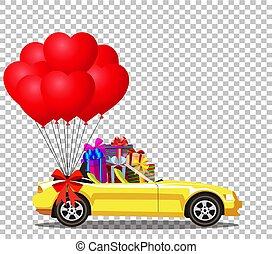 aberta, cabriolé, balloo, car, modernos, amarela, presentes, caricatura