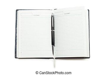 aberta, caderno, com, caneta, isolado