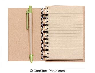 aberta, isolado, caneta, caderno, white., em branco