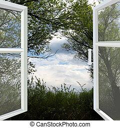 aberta, janela, para, a, verão