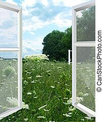 aberta, janela, para, a, verão, campo
