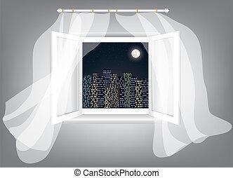 aberta, janela