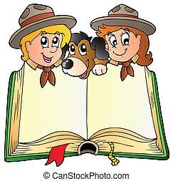 aberta, livro, com, dois, escoteiros, e, cão