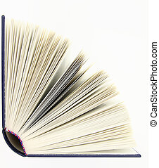 aberta, livro, isolado, sobre, fundo branco