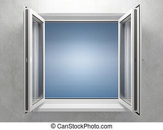 aberta, plástico, janela