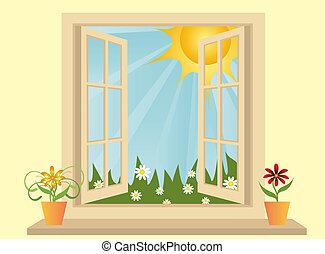 aberta, plástico, janela, em, sala, com, vista, para, campo...