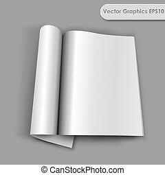 aberta, rolado, página, revista, vetorial, em branco,...