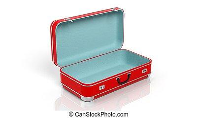 aberta, Viagem, isolado, fundo, mala, branca, vermelho