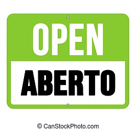 Aberto sign in black and green
