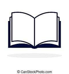 abertos, ícone, livro