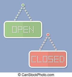 abertos, ícones, sinais fechados, closed., abertos