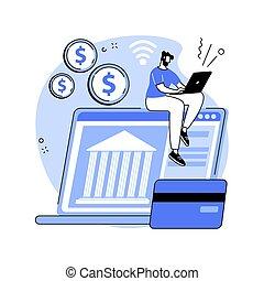 abertos, abstratos, illustration., plataforma, conceito, operação bancária, vetorial