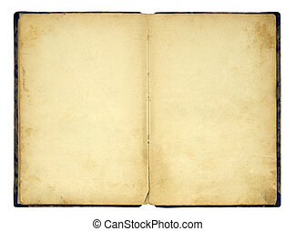 abertos, antigas, livro branco, isolado