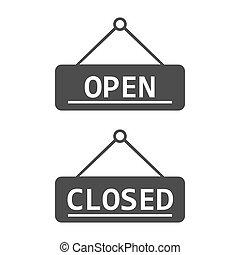 abertos, apartamento, ilustração, sinal, vetorial, fechado, icon., design.