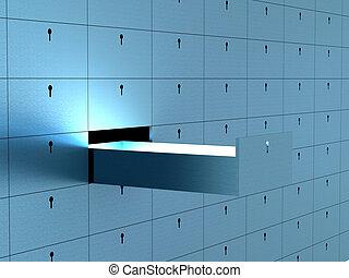 abertos, célula, em, segurança, depósito, box., 3d, image.