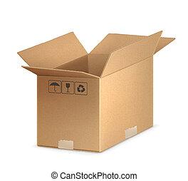 abertos, caixa papelão, caixa