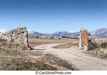 abertos, campo, portão