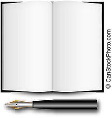 abertos, caneta, livro, chafariz, tinta