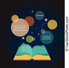 abertos, conceito, desenho, livro