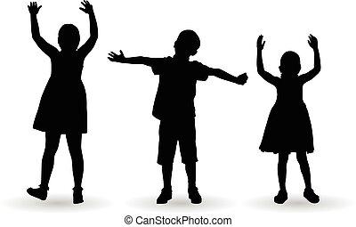 abertos, crianças, comemorar, braços