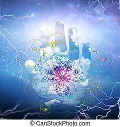 abertos, desenho, partícula, mão