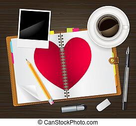 abertos, diário, coração