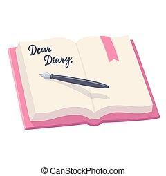 abertos, diário, ilustração