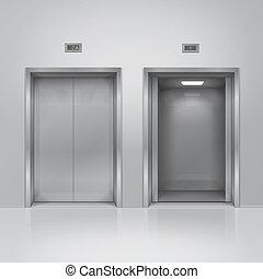 abertos, e, fechado, cromo, metal, elevador, doors., 3d, ilustração