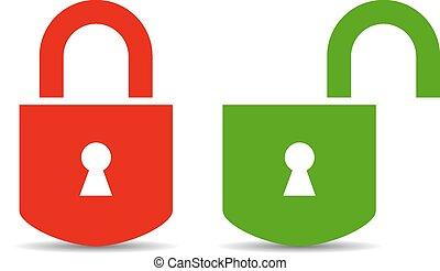 abertos, e, fechado, padlock