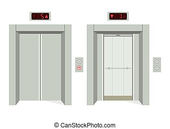 abertos, elevador, fechado, portas