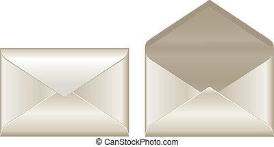 abertos, fechado, envelopes