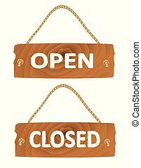 abertos, fechado, madeira, sinal