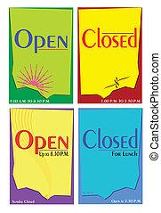 abertos, fechado, modelo, sinal