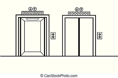 abertos, fechado, portas elevador