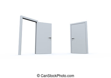 abertos, fechado, portas