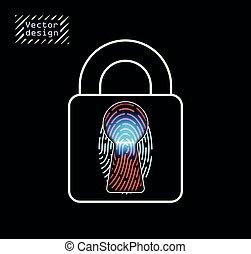 abertos, fingertip, conceito, laser, identificador, effect.,...