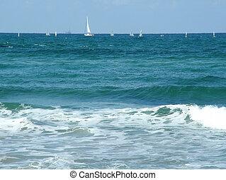 abertos, iates, mar, espaço