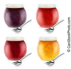 abertos, jarros, com, fruta, geleia