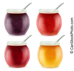 abertos, jarros, com, vário, fruta, geleia