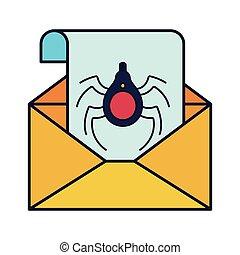 abertos, letra, com, aranha, e, janela, isolado, ícones