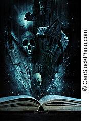 abertos, livro história, com, dia das bruxas, histórias,...
