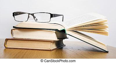 abertos, livros, pilha, óculos