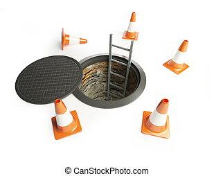 abertos, manhole, com, um, escada, dentro