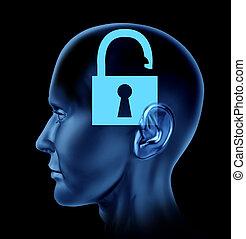 abertos, mente,  human, cérebro