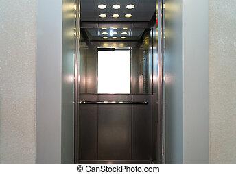 abertos, metal, portas elevador