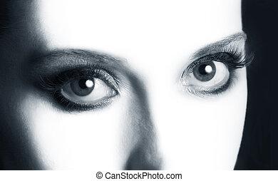 abertos, olhos, closeup